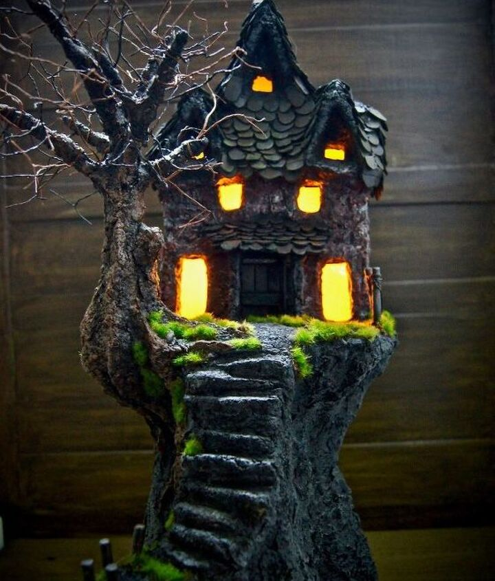 paper clay haunted house with lights 2