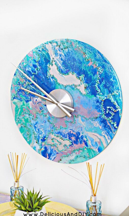 s 23 diy wall clocks you ll love, Glam Marbled Wall Clock
