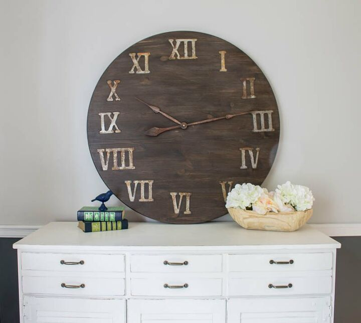 s 23 diy wall clocks you ll love, Time to make a giant clock from a tabletop