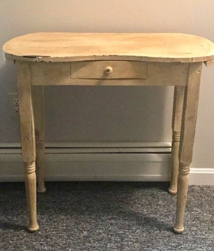thrift store vanity makeover with blue metallic paint