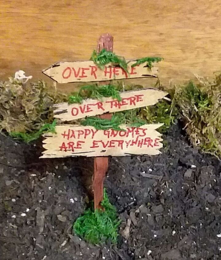 semi permanent indoor fairy gnome garden mailbox ladder and sign