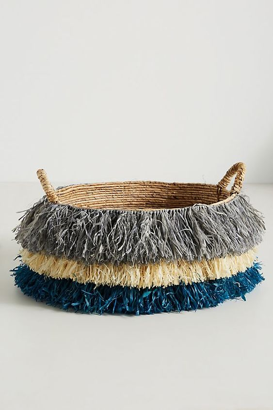 go bohemian with a diy fringed basket