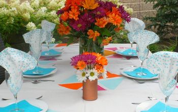 alfresco tablescape with sherbet colors