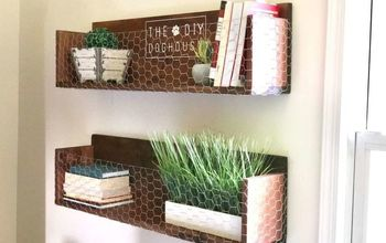wood shelving with chicken wire