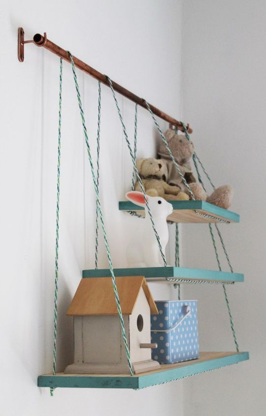 s 25 incredibly unique shelving ideas, Hanging Rope Shelves