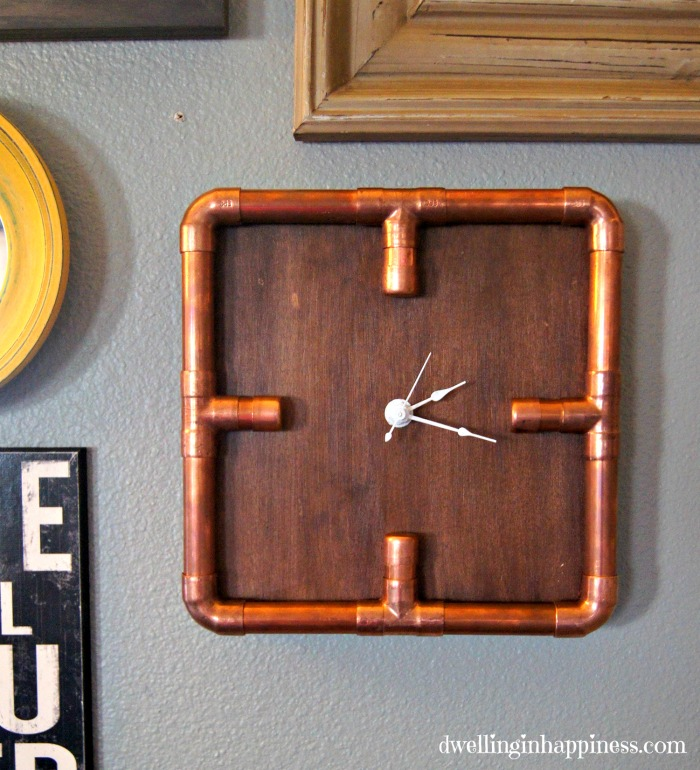 s 23 diy wall clocks you ll love, Industrial Copper Pipe Clock