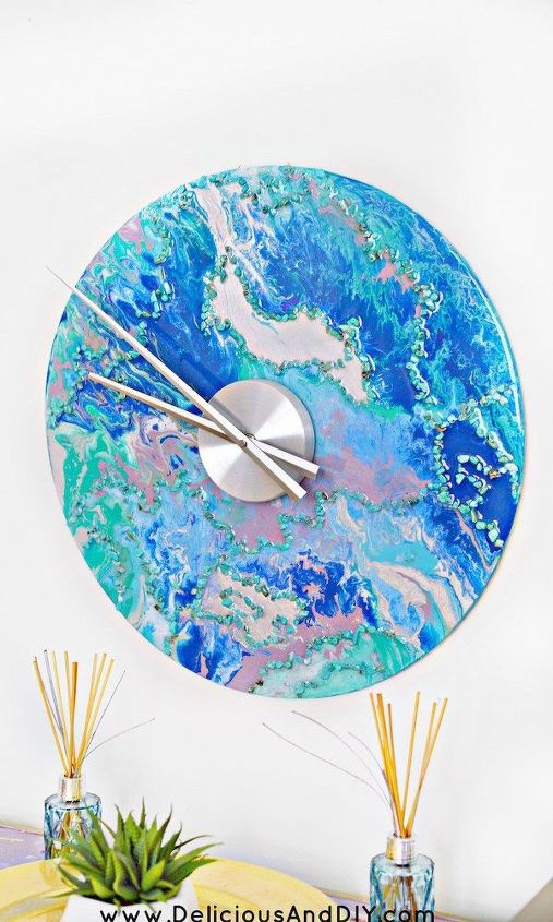 s 23 diy wall clocks you ll love, Glam Marbled Wall Clock