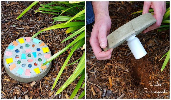 s 30 creative ways to repurpose baking pans, Make a key hiding stepping stone