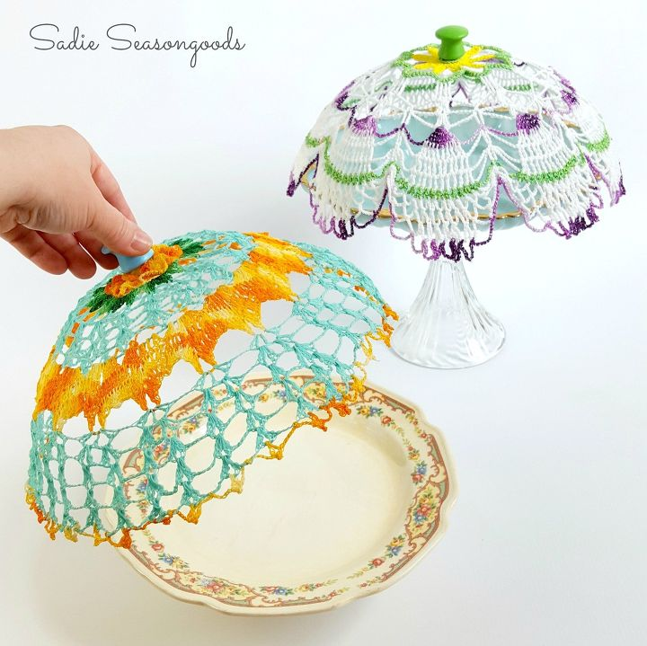 s 21 totally terrific things you can do with doilies, Stiffen Them Into Cloche Covers