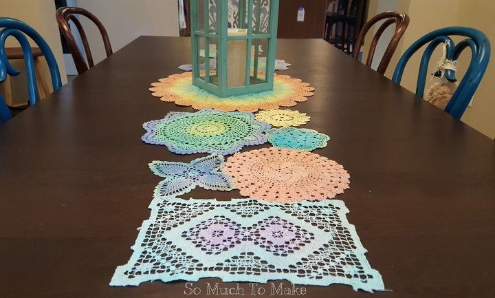 s 21 totally terrific things you can do with doilies, Dye Them For A Table Runner
