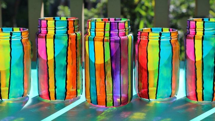 s 19 fantastic techniques for faux stained glass, Colorful Summer Jar Lanterns
