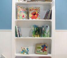 summer upcycle dooryway turned built in bookshelf