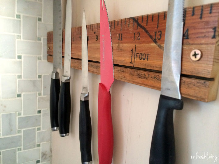 s 15 kitchen updates under 20, Make A Magnetic Knife Holder With A Ruler
