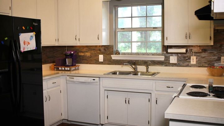 s 15 kitchen updates under 20, Peel And Stick Tile As A Backsplash