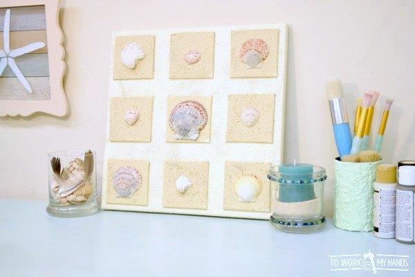 s 31 coastal decor ideas perfect for your home, Glue Beach Shells To A Canvas