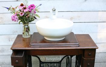 singer sewing machine repurposed into a bathroom sink