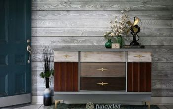 gray mid century modern dresser with patchwork design