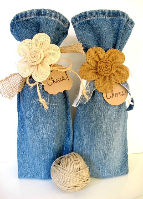 s 30 ways to use old jeans for brilliant craft ideas, Use Jeans To Gift Bottles Of Wine