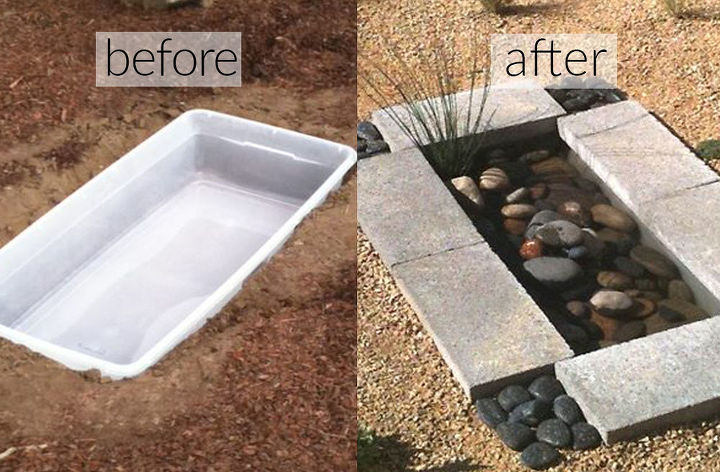 s 31 creative garden features perfect for summer, Make a mini pond from a plastic container