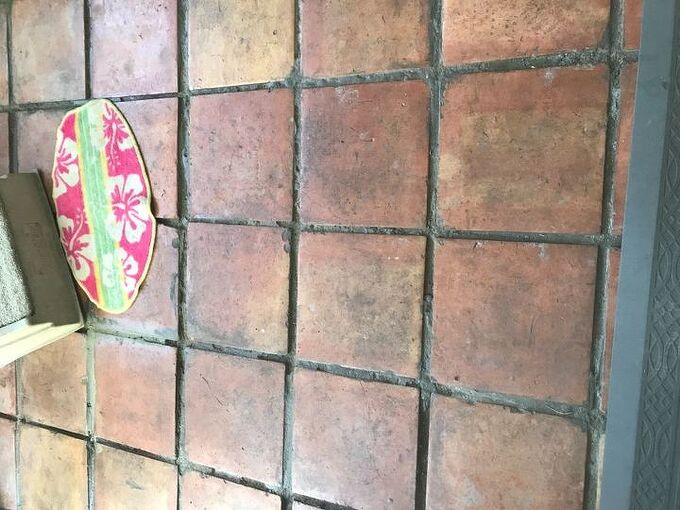 q how to add grout to existing grout on a floor with mexican tiles
