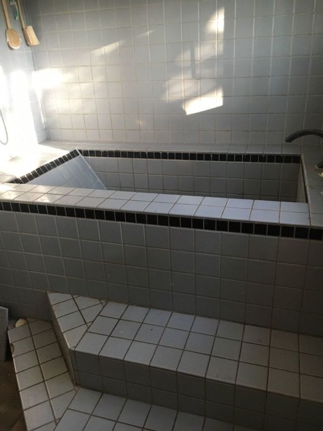 q how do i update a tile bath shower combo inexpensively