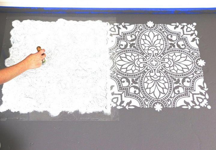 how to stencil an elegant tile floor
