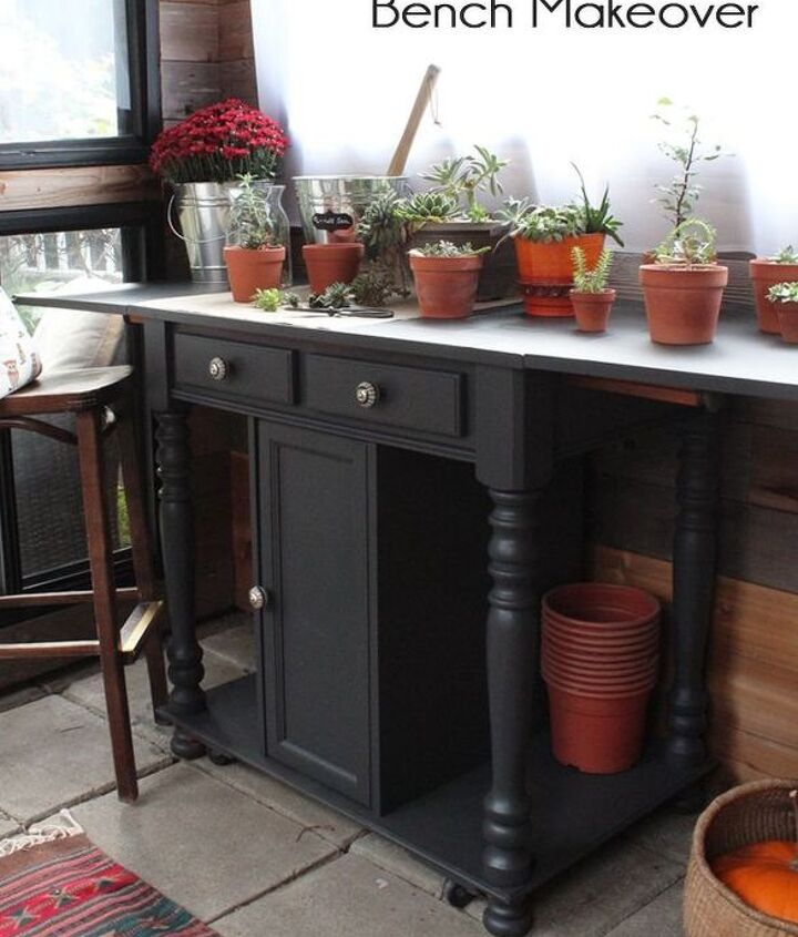 how to paint a potting bench
