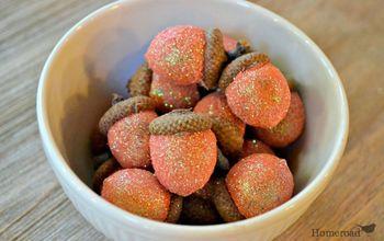 diy glittered acorns