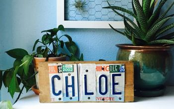 recycled license plate sign