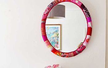 gorgeous fabric covered mirror upcycle