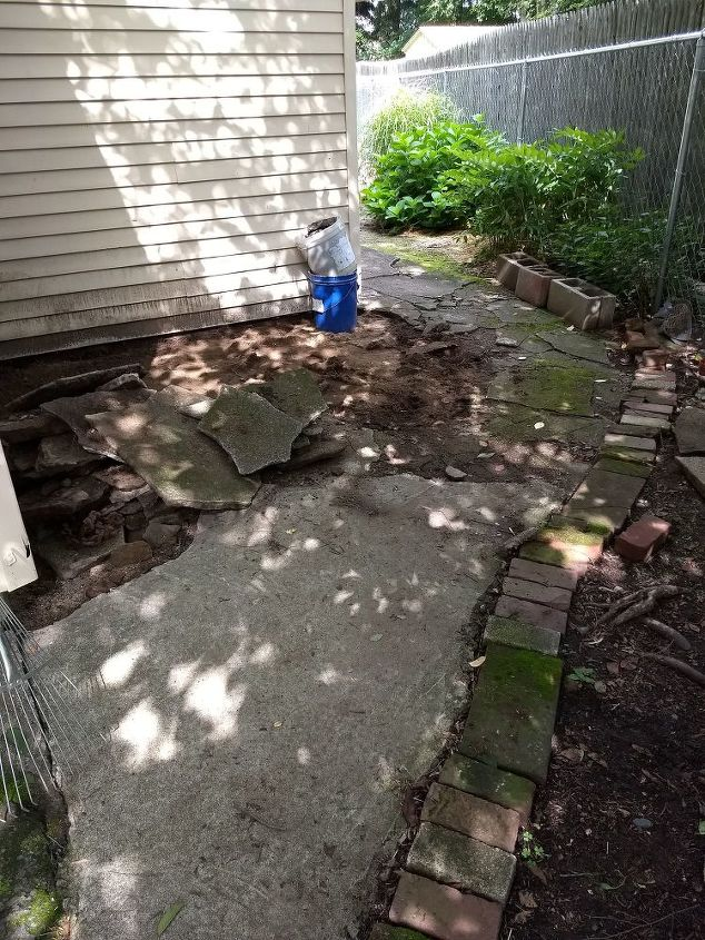 q what can i use replace my cement walkway and extend it to greenhouse