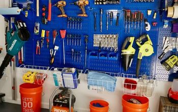 garage organization with metal pegboard