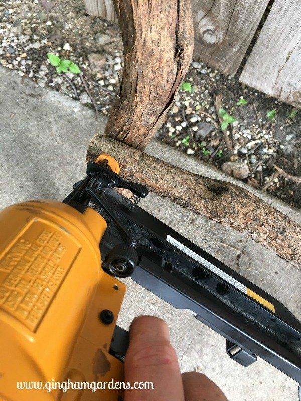 make a rustic garden ladder trellis using tree branches