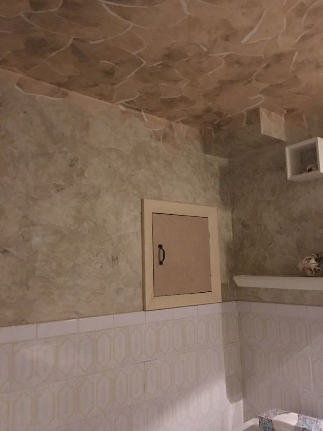 How can I redo a bathroom, no shower, ugly tiled half wall? | Hometalk
