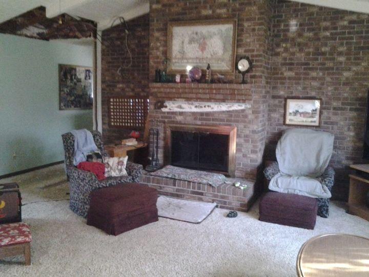 masive brick fireplace wall whitewash success