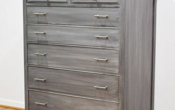 before after silver industrial dresser with metallic paint