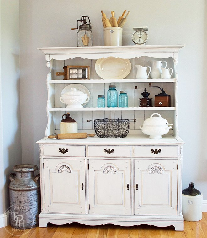 s 18 ways to get the farmhouse kitchen of your dreams, Give an old hutch some Farmhouse flair