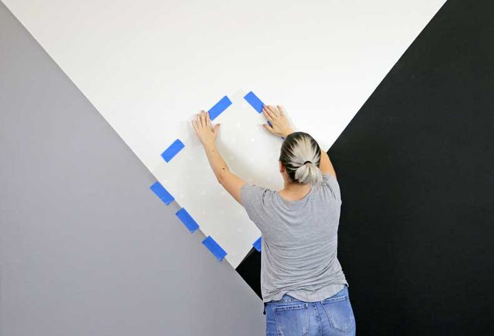 how to stencil a geometric nursery wall