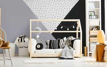 how to stencil a geometric nursery wall