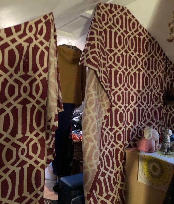 q how to hang a curtain across an attic space