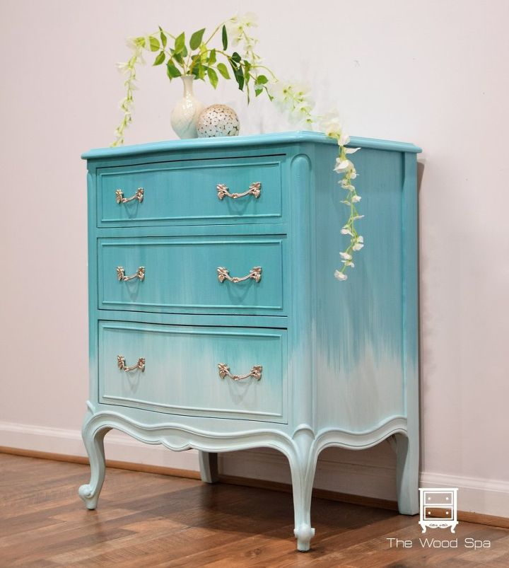 nightstand makeover ombr finish with blending technique