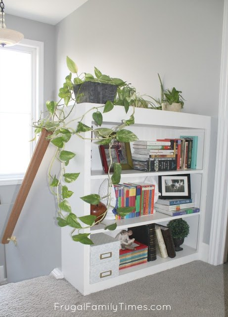 how to make a built in stair top bookcase with planter