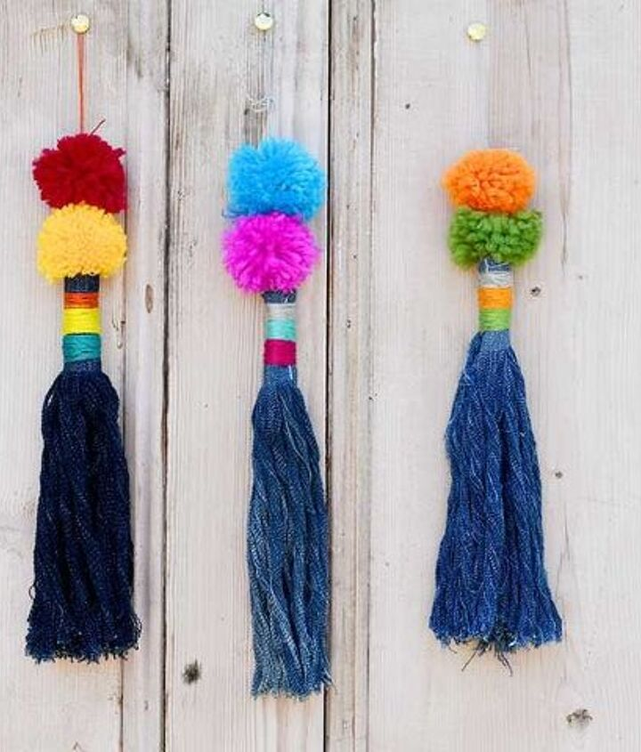 gorgeous colourful upcycled giant tassels for the home