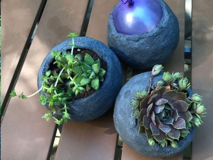 diy mini cement balloon planters