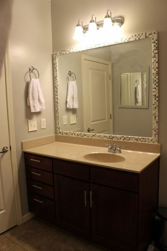 How To Add A Tile Frame Bathroom Mirror
