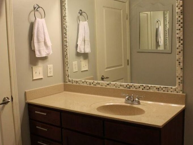 how to add a tile frame to a bathroom mirror