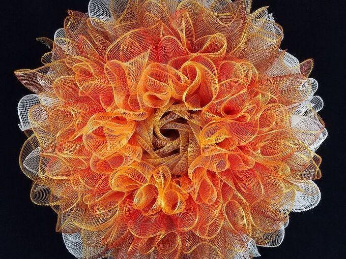 deco mesh ruffle flower wreath tutorial, Ruffle Flower Wreath in Fall colors
