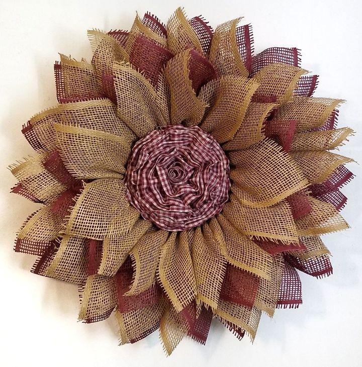mesh sunflower wreath tutorial, Burgundy Tan Paper Mesh Flower Wreath