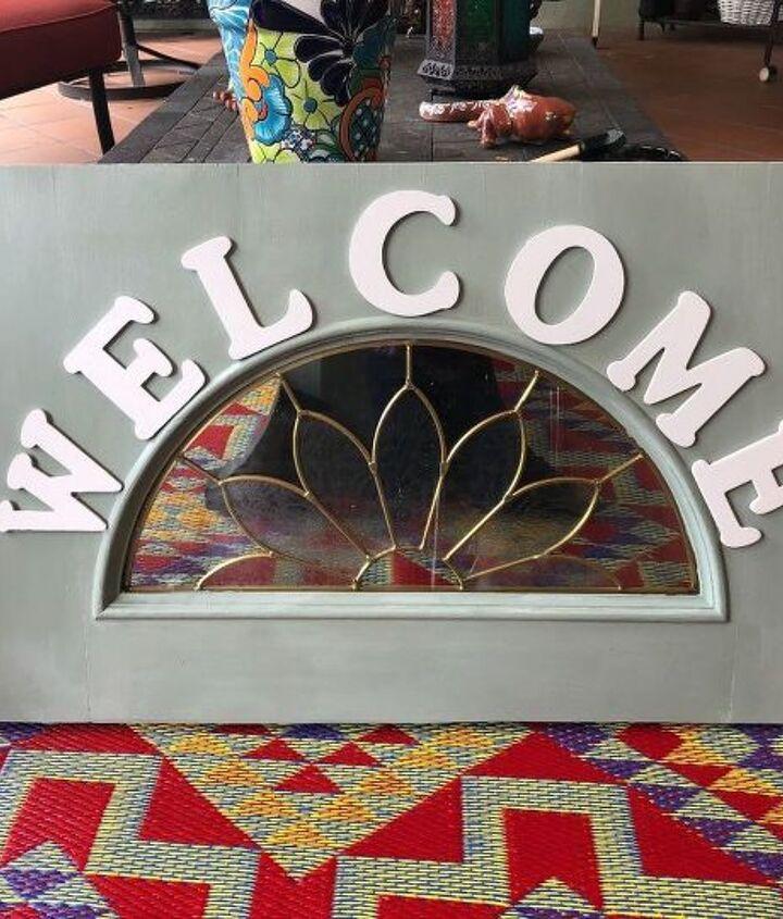 welcome sign with old door