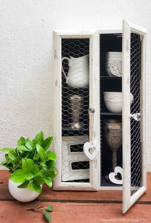 upcycle a cd tower into a farmhouse cupboard